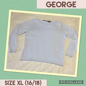 🍁 GEORGE, Baby Blue sweater w/crotchet trim